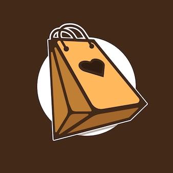 Icône de logo de sac à provisions avec la couleur de chocolat