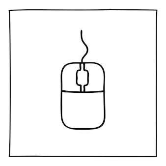 Icône ou logo de souris d'ordinateur doodle, dessinés à la main avec une fine ligne noire.