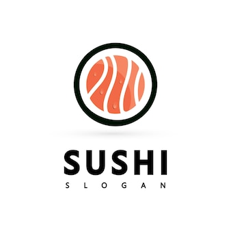 Icône logo vector icon style illustration bar ou boutique, sushi, rouleau de saumon onigiri, objet moderne isolé