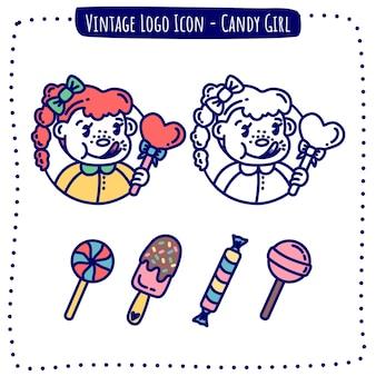Icône logo vintage candy girl