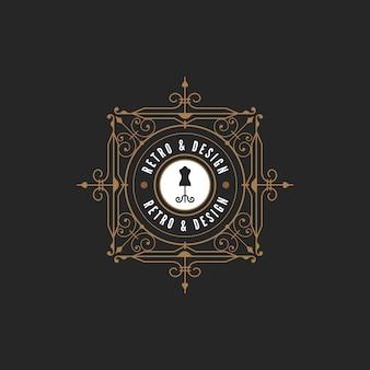 Icône logo vintage label. style classique rétro