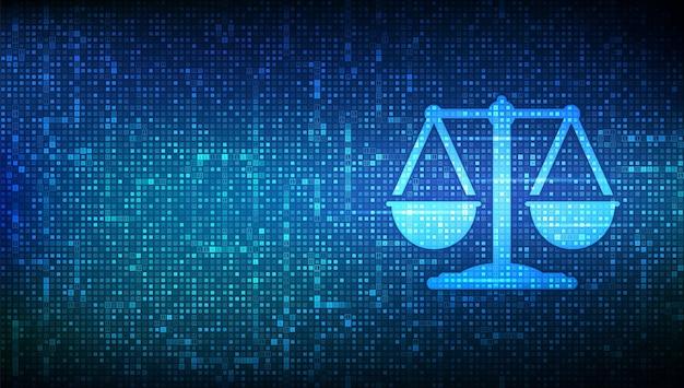 Icône de loi internet faite avec un code binaire