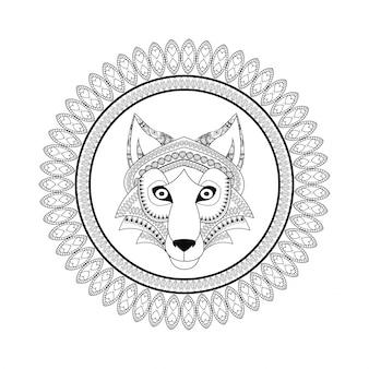 Icône de loup. prédateur animal et ornemental