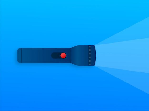 Icône de lumière ampoule. faisceau lumineux brillant. linterna moderne, super design pour toutes les utilisations. illustration de stock.