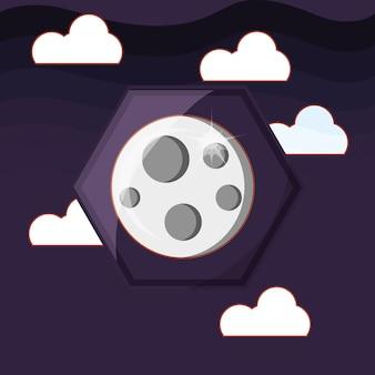 Icône de la lune sur fond de ciel