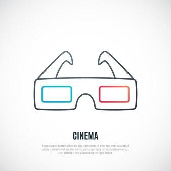 Icône de lunettes de cinéma 3d dans un style de ligne simple