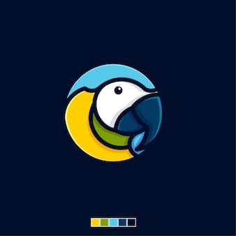 Icône de macaw oiseau plat logo modèle