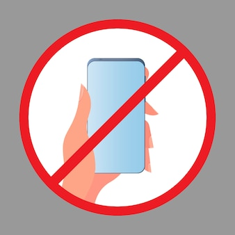 Icône de main barrée avec un téléphone. le concept d'interdiction des appareils, zone sans appareil, désintoxication numérique. vide pour autocollant. isolé.