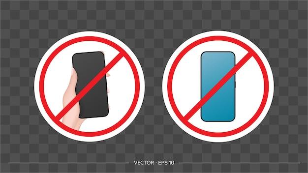 Icône de main barrée avec un téléphone. le concept d'interdiction d'appareils, de zone sans appareils, de désintoxication numérique. vide pour l'autocollant. isolé. vecteur.