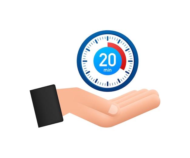 L'icône de la main du vecteur du chronomètre 20 minutes icône du chronomètre dans un style plat