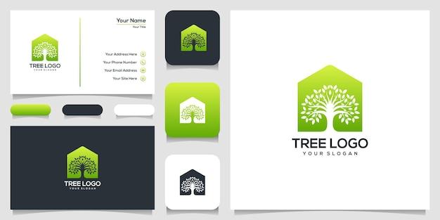 Icône de la maison dans les arbres. éléments. modèle de logo de jardin vert et carte de visite