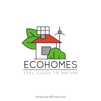 Icône de la maison avec des feuilles de cheminée