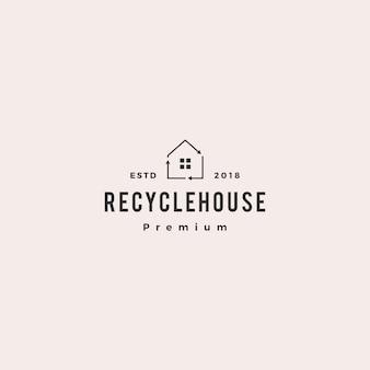 Icône de maison logo vector recycle