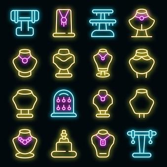 Icône de mannequin de bijoux. contour de bijoux icône vecteur factice couleur néon sur fond noir