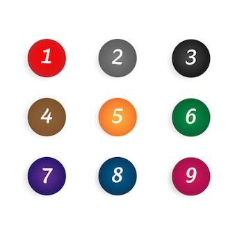 Icône de marqueur de balle avec les numéros 1 à 12 pour infographie, présentation. numéro de puce des marqueurs 3d colorés isolés sur fond transparent. couleur de dégradé de point collant. illustration vectorielle.