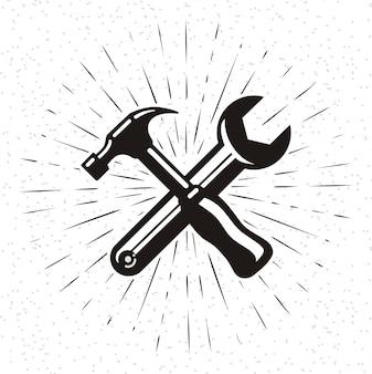 Icône de marteau dans le style de griffonnage