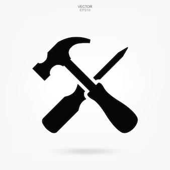Icône marteau et tournevis. signe et symbole d'outil d'artisan. illustration vectorielle.