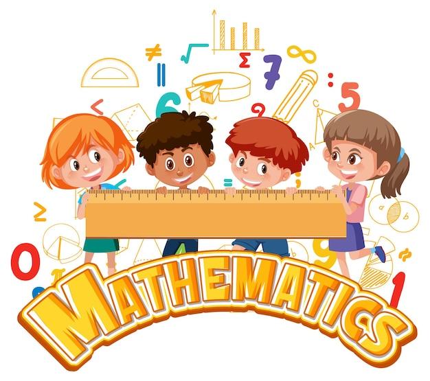 Icône de mathématiques avec des enfants et des outils mathématiques