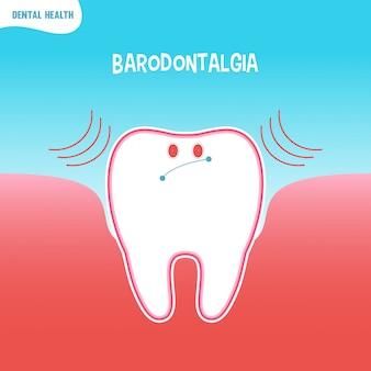 Icône de mauvaise dent de dessin animé avec baradontalgia