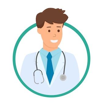 Icône de médecin ou avatar sur blanc
