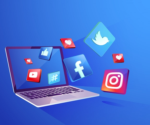 Icône de médias sociaux 3d avec ordinateur portable dekstop