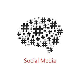 Icône de médias sociaux avec le cerveau du hashtag. concept de signe numérique, réseaux, vente et microblogger. isolé sur fond blanc. illustration vectorielle de style plat tendance logo moderne design