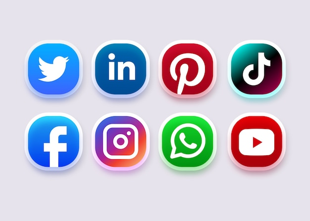 Icône de médias sociaux ou collection de logo