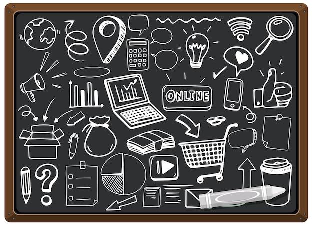 Icône de médias sociaux dessinés à la main sur tableau noir