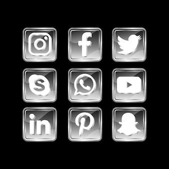 Icône de médias sociaux populaire noir