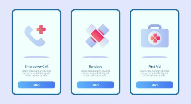 Icône médicale premiers secours de bandage d'appel d'urgence pour les applications mobiles