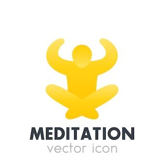 Icône de méditation, élément de logo isolé sur blanc