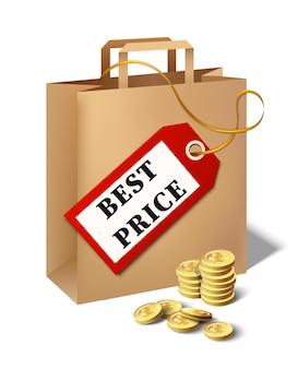Icône de meilleur prix de vecteur avec étiquette de prix de sac en papier de dessin animé et pièces d'or