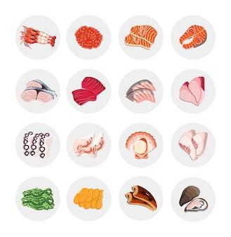 Icône menu alimentaire dessin saumon