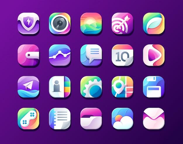 Icône de menu de téléphone intelligent, sécurité, caméra, image, cible, feuille organique, portefeuille