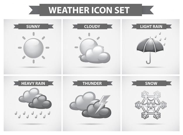 Icône météorologique avec différents types d'illustration des températures