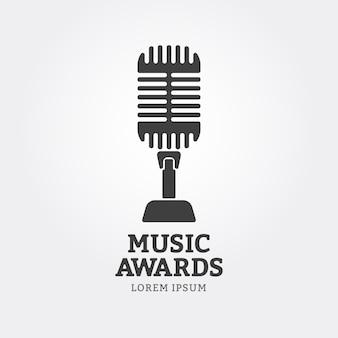 Icône de microphone ou emblème de récompenses de musique