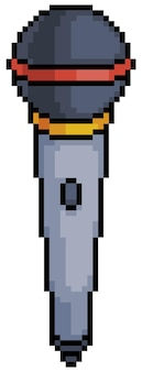 Icône de microphone pixel art pour jeu de bits sur fond blanc