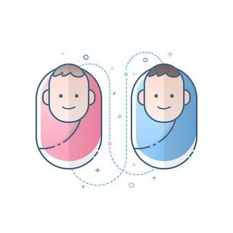 Icône mignon garçon et fille nouveau-né