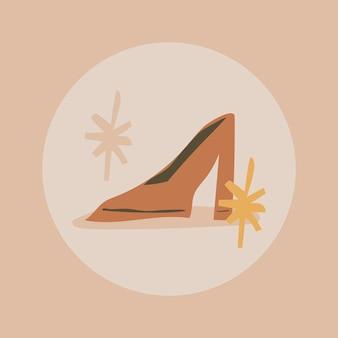 Icône de mise en évidence de la mode instagram, doodle de talons hauts dans le vecteur de conception de ton de terre