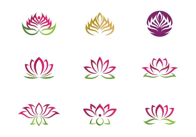Icône de modèle de logo de conception de fleurs de lotus de vecteur de beauté