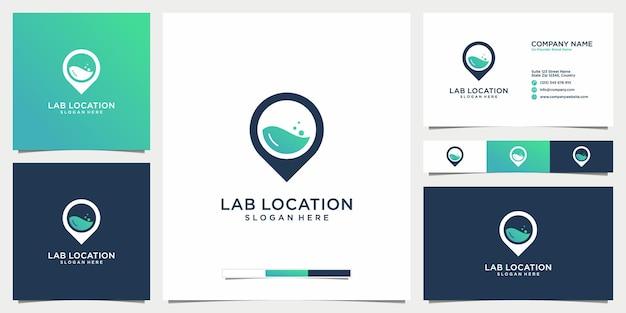 Icône de modèle de logo de laboratoire de localisation et carte de visite