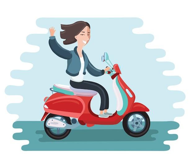Icône moderne sur le personnage de jeune femme hipster équitation scooter rétro rapide portant des lunettes de soleil