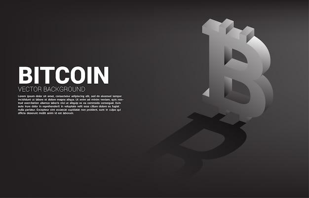 Icône de monnaie d'argent bitcoin 3d avec shadow.