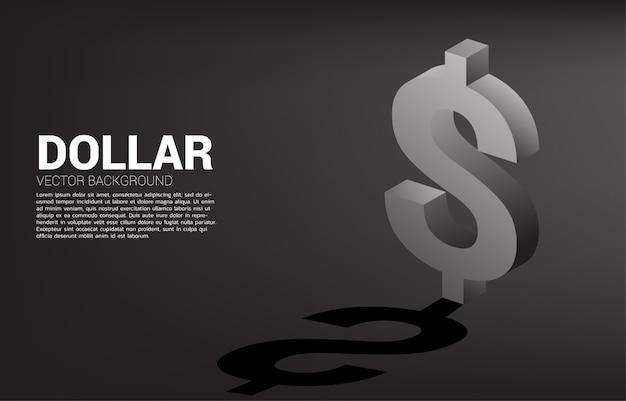 Icône de monnaie dollar vecteur argent 3d avec shadow