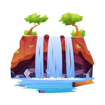 Icône de montagne rocheuse de paysage de cascades tropicales