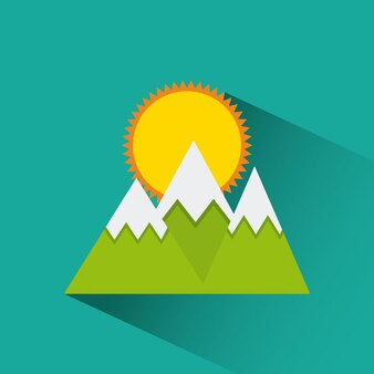 Icône montagnes et soleil
