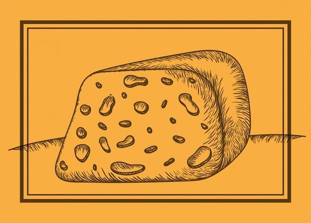 Icône de morceau de fromage dessinée