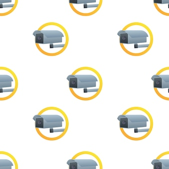 Icône avec motif de vidéosurveillance sur fond blanc. symbole de la silhouette. icône de l'appareil photo. autocollant de panneau d'avertissement de mise en garde. illustration vectorielle de stock.