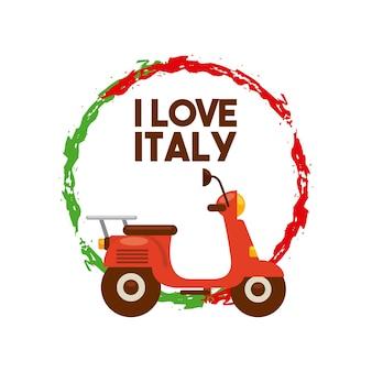 Icône de la moto. conception de la culture de l'italie. graphique de vecteur