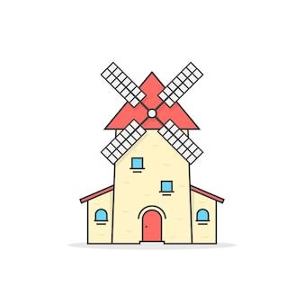 Icône de moulin à vent linéaire coloré. concept de boulangerie traditionnelle, marque néerlandaise, usine, rotation, tourisme agricole, culture. illustration vectorielle de style plat tendance logo design moderne sur fond blanc